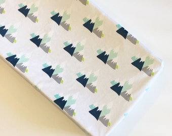 Mountain adventure changing pad cover - silver gray navy blue mint aqua citron - woodland camping nature nursery - boy baby shower gift