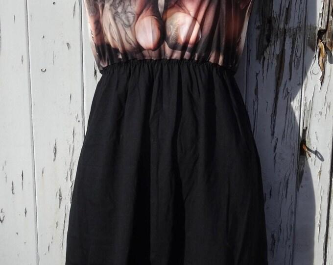 Tattooed Knuckles Black Dress - Size 10 12 14 - Gangster Tattoo Rockabilly Alternative Skater