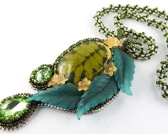 Necklace, Resin, Bead Embroidery