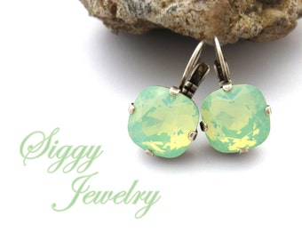 Swarovski Elements 12mm Cushion Cut Earrings Available in Pacific Opal and Chrysolite Opal, Mint Sea Foam Green, Pick Your Custom Finish