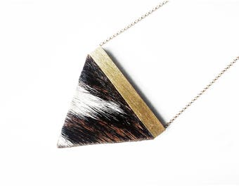 Cowhide necklace, brass necklace, wood necklace, triangle necklace, gold necklace, mother's day gift, minimalist necklace, gift for her