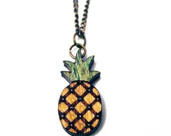 Pineapple necklace, laser cut pineapple necklace, laser cut pineapple, wood pineapple, wood necklace, laser cut necklace, mother's day gift