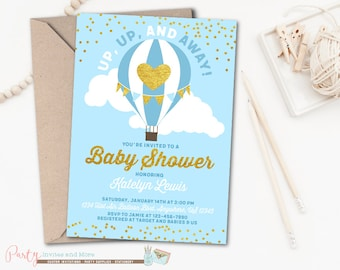 Hot Air Balloon Baby Shower Invitation, Up Up and Away Baby Shower Invitation, Hot Air Balloon Invitation, Boy Baby Shower Invitation