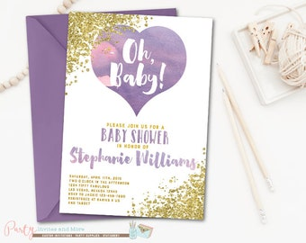 Purple and Gold Baby Shower Invitation, Watercolor Baby Shower Invitation, Purple Baby Shower Invitation, Lavender, Glitter, Glam
