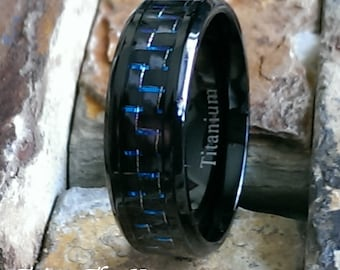 Titanium Black Ring with Blue Carbon Fiber Inlay Comfort Fit Mens Womans Personalized Wedding Band Ring ( FREE ENGRAVING ) AZ116