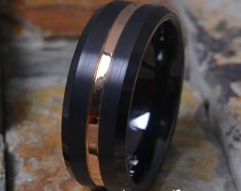 Black Tungsten Brushed Satin Finish w/ Rose Gold Stripe Comfort Fit Personalized Mens Womens Wedding Ring Band ( FREE ENGRAVING ) AZ203