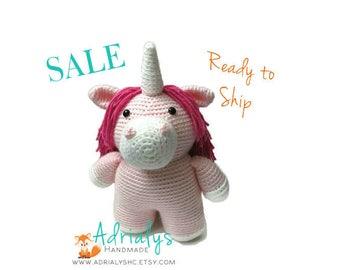 SALE- Crochet Unicorn | Crochet Toy | Pink Unicorn | Unicorn Gift | Unicron Party | Crochet Animals | Unicorn Plush | Ready to Ship