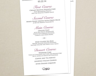 Wedding Reception Dinner Menu