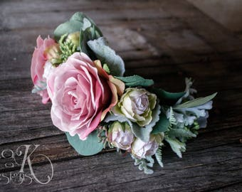 Faux Floral Bridal Half Crown, Artificial Blush, Pink, Ivory Headpiece, Rose, Spray Rose, Eucalyptus, & Greenery Hair Comb