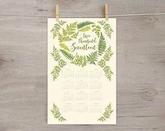2017 Wall Calendar, Year-at-a-Glance, Fern Wreath, 11x17 botanical illustration, floral garland and laurels