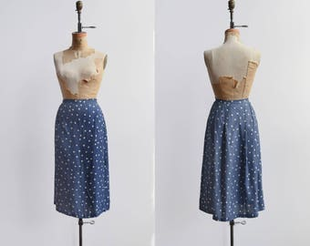 Hip Stitch Skirt / 1950s wiggle skirt / vintage printed silk skirt
