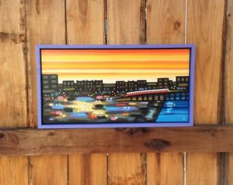 Riding The T, Cityscape, Cityscape Painting, Original Painting, Framed Painting, Large Painting, Boston, Boston Art, Boston Painting