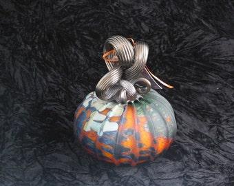 Astounding Chaotic Industrial Hand Blown Glass Pumpkin I131