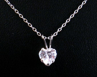 Cubic Zirconia Diamond Heart Necklace, Sterling Silver, Valentine Gift Valentines Day Jewelry