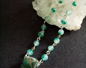 Moss agate necklace. Moss agate jewelry. Wicca necklace. Pagan necklace. Bridal necklace. Bridal jewelry. Green stone necklace