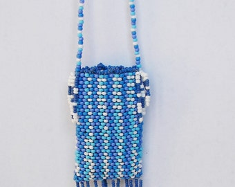 Blue Beaded Medicine Pouch Necklace