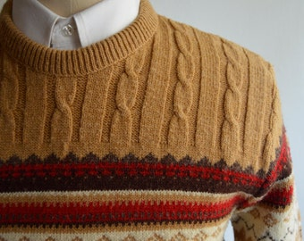Vintage 70s/80s Tan Fair Isle/Ski Sweater by JC Penney Size Small