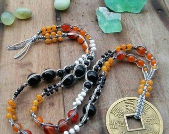 SALE Good Fortune / Abundance Affirmation Chinese Coin Macrame Beaded Necklace Orange Black White Agate Crystal Glass Bead Roxxi1018