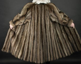 RACCOON FUR Coat Full Length with Stand up Collar Size XXL