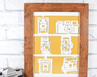 HALF PRICE!! - PRINT - Vintage cameras - print of an original papercut - A4 - by QueenieDot