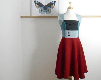 Size L/XL - Swing Dress in Ruby & Cerulean Blue