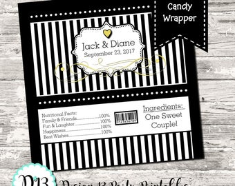 Black White Stripe with Gold or Silver Wedding Engagement Candy Bar Chocolate Bar Wrappers Favor Print Your Own Digital
