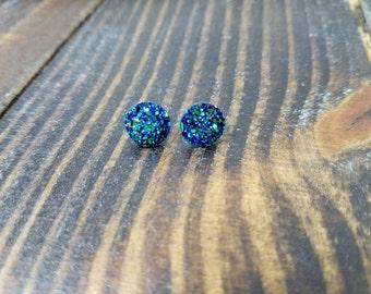 Metallic Blue Black Druzy Earrings - 10mm - Surgical Steel Post