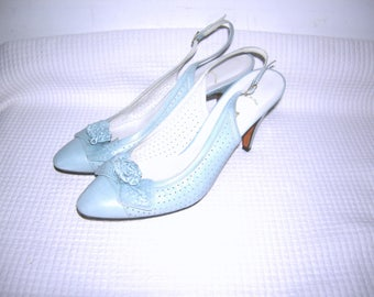 Vintage 1960s MASERATI Heels/ Blue Leather Heels/ Pin Up Bombshell Rockabilly VLV/ Italian Leather/ Slingbacks Heels Shoes/ Made in Italy/ 8