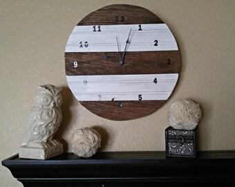 Rustic Clock, Barnwood Clock, Cream Clock, Stained Clock, Round Clock, Rustic home decor, Wall Clock