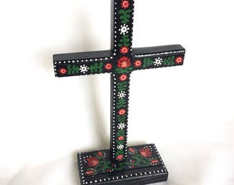 Folk Art Cross | FREE SHIPPING | Hand Painted Wood | Floral | Polish | Hungarian | Scandinavian