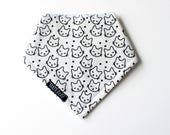 Baby bandana bib, HAND PRINTED, Kawaii CAT pattern, cute kitty, kitten, cat lover, cat lady, drool bib, dribble, minimalist toddler scarf