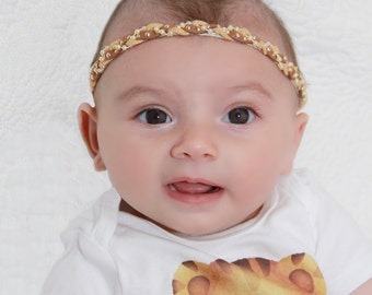 Toddler Headband, Baby Headband, Suede Headband, Tan Headband, Brown Headband, Girl Headband, Braided Headband, Pearls Headband