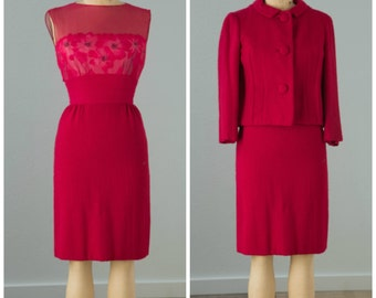 1950s Magenta Wool and Chiffon Floral Dress and Jacket