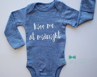 Boys New Years Outfit, Kiss Me At Midnight, Boys Clothing, Newborn Outfit, Stocking Stuffer, Newborn Gift, Baby Boy Outfit