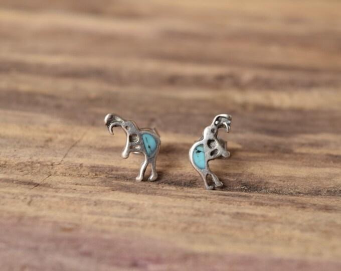 Featured listing image: Kokopelli earrings , turquoise Earrings, Native American silver studs, Native earrings, southwestern native jewelry, Stud earrings earings