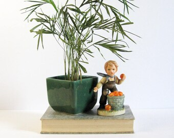 Young Farm Boy Throwing Apples - Vintage Hummel Style Ceramic Figurine - Farmhouse Decor - Urban Farmer - Fruit Basket Decor - Made in Japan