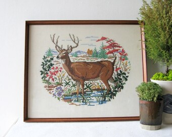 Cross Stitch Deer - 28x23 Vintage Framed Textile Art - Buck Deer Antler Wall Decor - Rustic Cabin Decor - Colorful Linen Embroidery Art