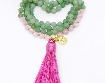 Mala, Mala Beads, Knotted Mala Necklace, 108 Mala Beads, Green Aventurine Mala Necklace, Rose Quartz Necklace, Prayer Beads, Japa Mala, MKGA