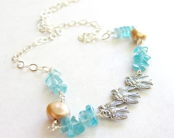 Sterling Silver Birds Apatite and Pearl Necklace, Trio of Birds, Bluebird Necklace, Chunky Blue Gemstone and Pearl Necklace