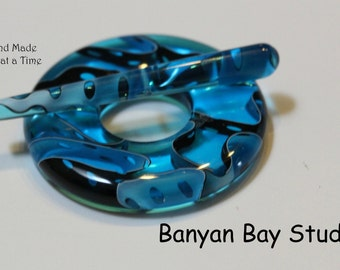 Toggle, Clasp, Resin, Glacier Blue, hand carved