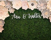 """Custom Name Sign """"Name & Name"""" for Couples, 3 pieces, SMALL, Personalized Name Signs, Wall Backdrop, Modern Calligraphy"""