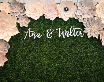 "Custom Name Sign ""Name & Name"" for Couples, 3 pieces, SMALL, Personalized Name Signs, Wall Backdrop, Modern Calligraphy"