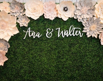 "SALE! Custom Name Sign ""Name & Name"" for Couples, 3 pieces, SMALL, Personalized Name Signs, Wall Backdrop, Modern Calligraphy"
