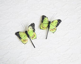 Green Butterfly Hair Pins, butterfly hair clips, Bridal hair clips, Wedding flower pins, butterfly bobby pins, woodland wedding, greenery