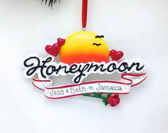 FREE SHIPPING CLEARANCE: Honeymoon Personalized Christmas Ornament / Honeymoon Ornament / Honeymoon Souvenir /Custom Names or Message