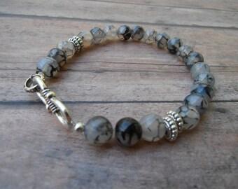 Mens Mala Bracelet Agate,A Stone of Strength ,Beaded Bracelet,Chakra Jewelry,Yoga Bracelet Gift For Him Black Lace Agate Bracelet mens Gift