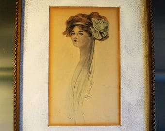 Framed Picture of Woman from 1920's or So,  Signed Nancy Johnston