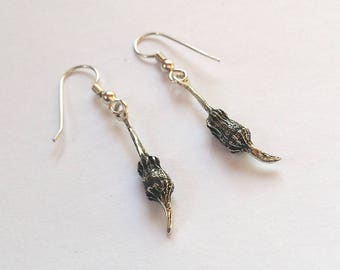 Eucalyptus Pod Earrings Sterling Silver Dangly Seed Pods, Botanical Nature Jewelry, Eucalyptus Torquata Pods Coral Gum Coolgardie Gum Pods