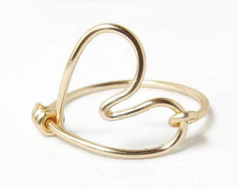 Heart Wire Ring, Wire Heart Ring, Gold Heart Ring, Size 2 3 4 5 6 7 8 9 10 11 12 13 14, Heart Shaped Ring, Valentines Day Gift