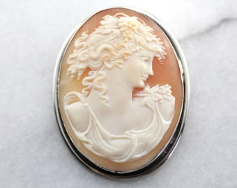 Large Shell Cameo Pin or Pendant in Sterling Silver WCVUFY-D